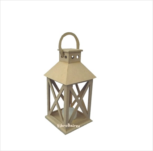 Farol porta velas 12 x 12 x 32 cm